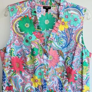 Talbots VIBRANT FLORAL COTTON DRESS 16P